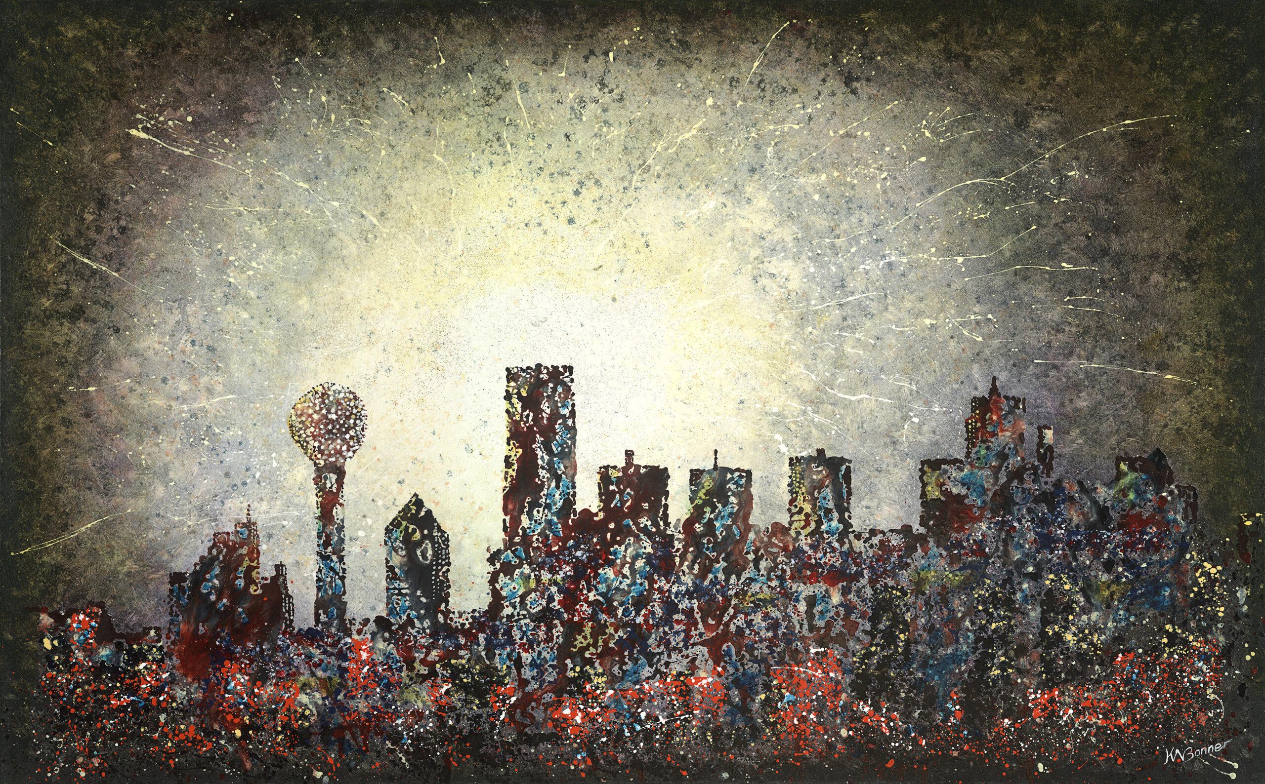 Deep in the Heart   Dallas Cityscape   Ken Bonner Original Oil Paintings   Santa Fe New Mexico