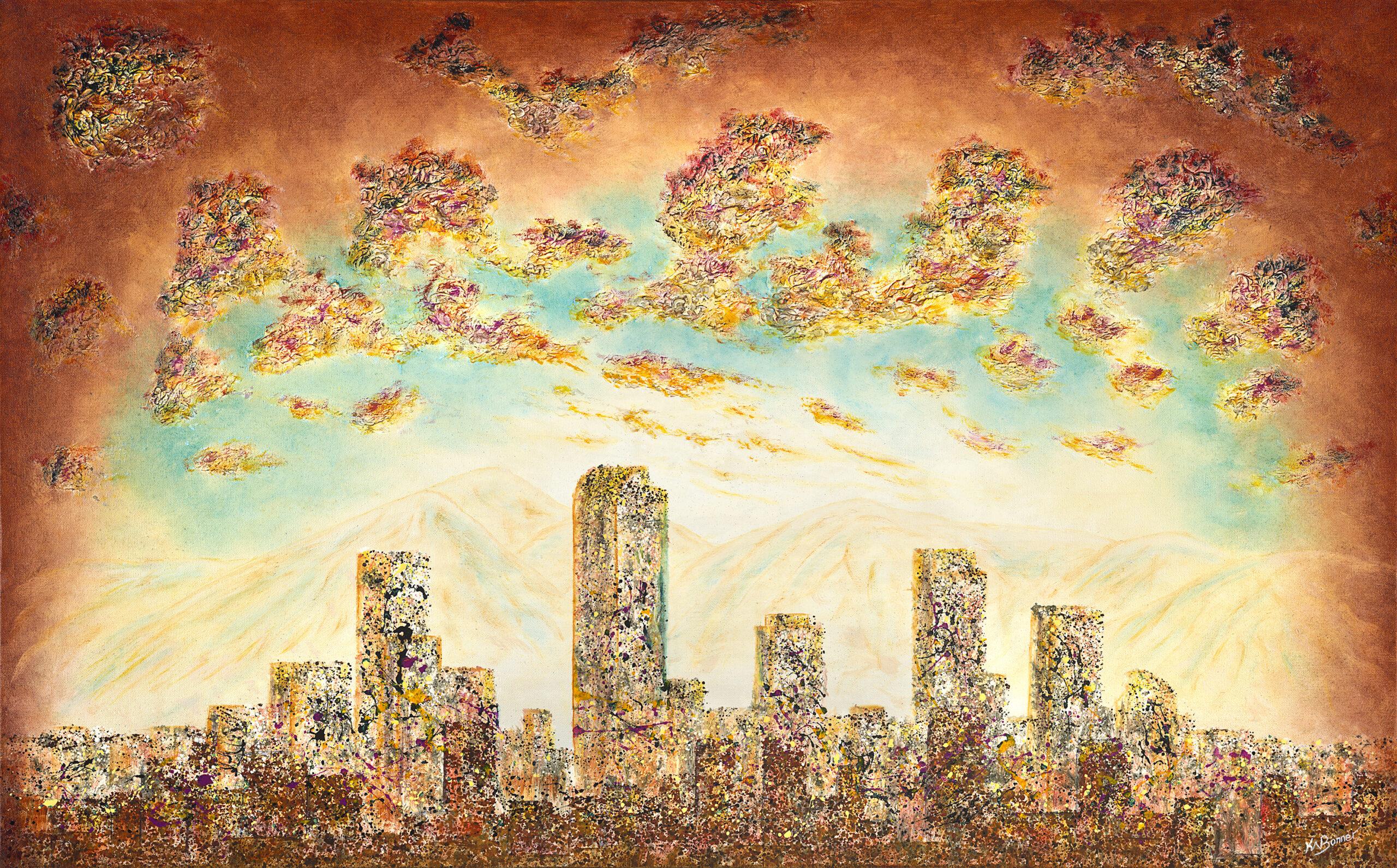 Rain'in Fire in the Sky | Denver Cityscape | Ken Bonner Original Oil Paintings | Santa Fe New Mexico