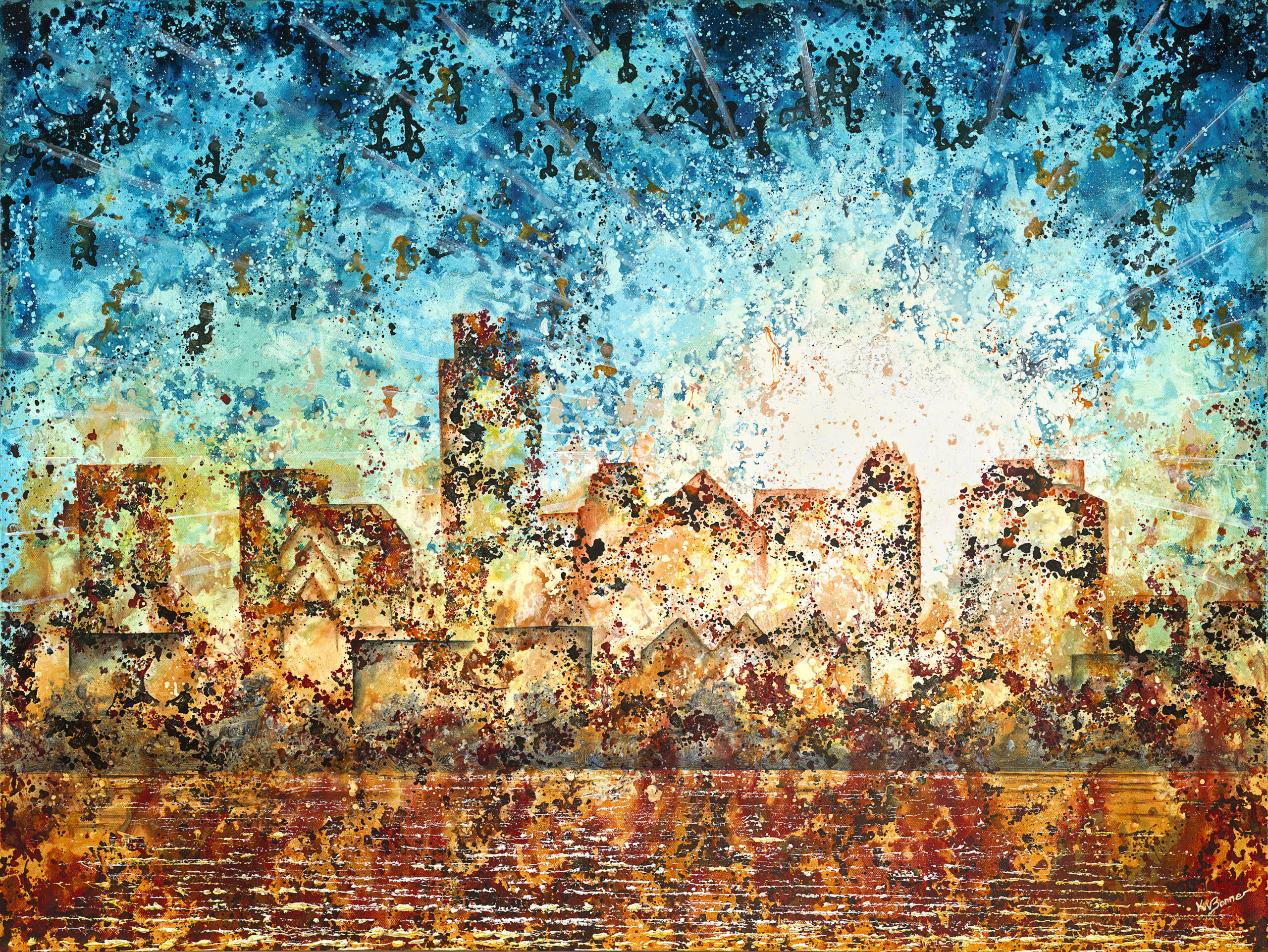 Dance to the Music   Austin Cityscape   Ken Bonner Original Oil Paintings   Santa Fe New Mexico