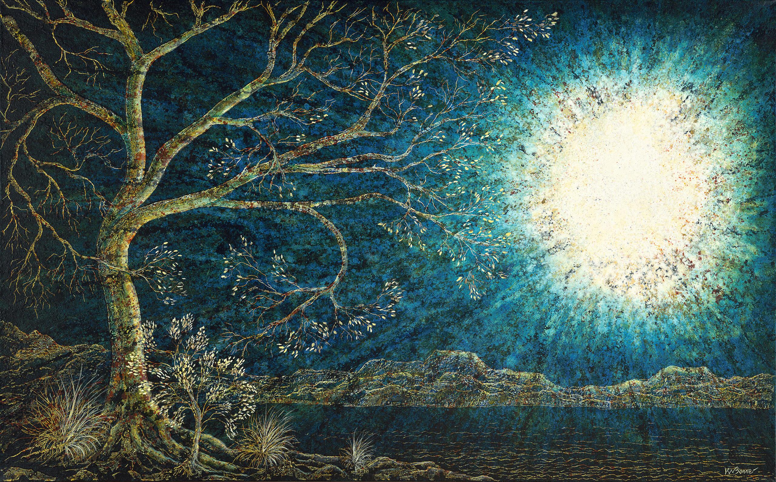 Moonlight Serenade | Trees | Ken Bonner Original Oil Paintings | Santa Fe New Mexico