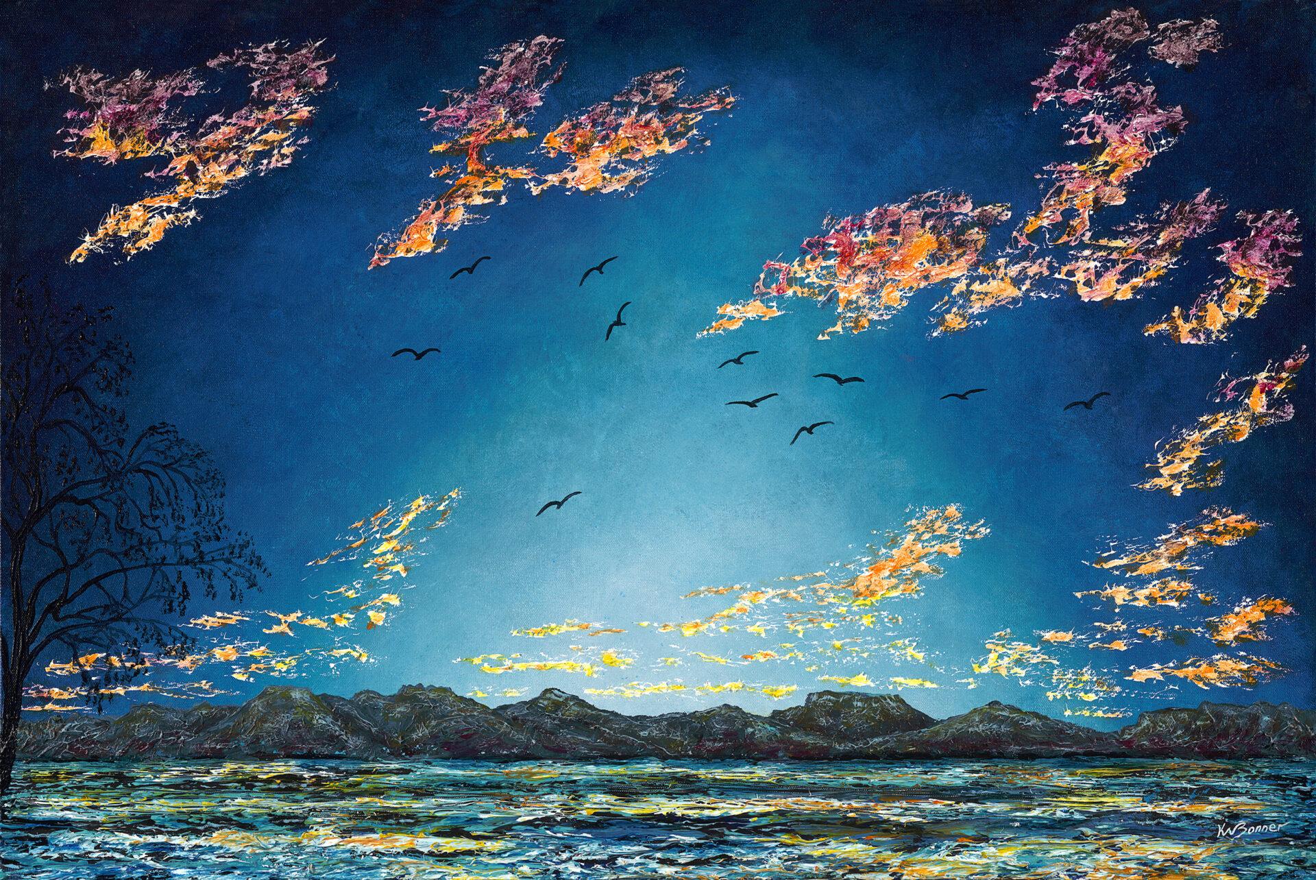 Leave the light on|Seascape|landscape|Ken Bonner original oil painting|Santa Fe NM